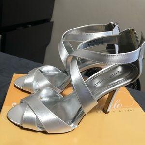 David's Bridal crisscrossed sandal heels